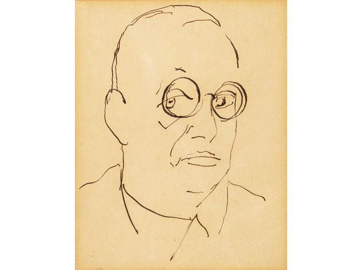 Leon Chwistek, bez tytułu [autoportret], lata 20. – lata 30., tusz / papier, 34 × 21 cm, kolekcja prywatna