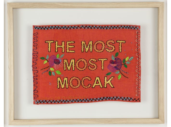 Monika Drożyńska, //The most most MOCAK//, 2017, haft / tkanina, 23 × 32 cm, courtesy of M. Drożyńska, fot. R. Sosin