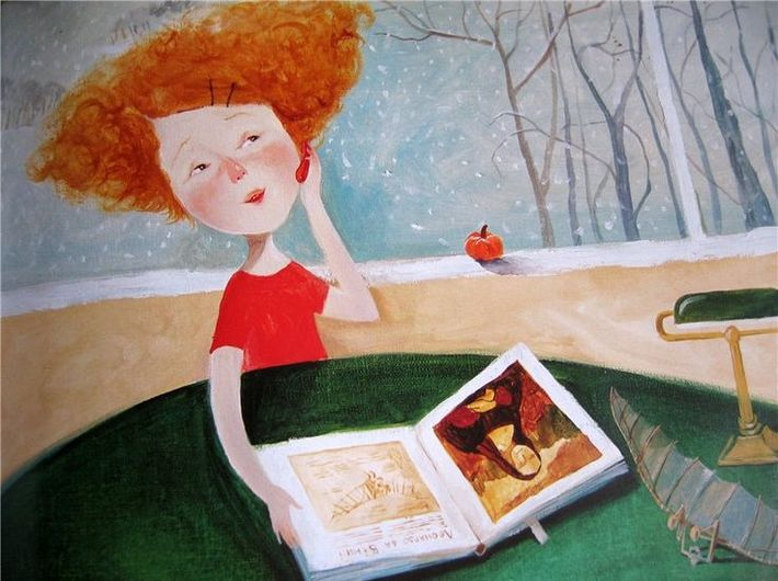 Ilustracja z książki //Liza i jej sny// autorstwa Żeni Hapczynskiej