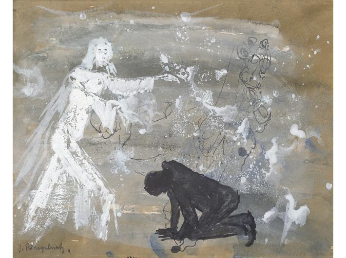 //Bez tytułu// (//ohne Titel//), niedatowane, akwarela, biel kryjąca, tusz / papier, 19 × 15,5 cm, courtesy Muzeum Joachima Ringelnatza, Cuxhaven