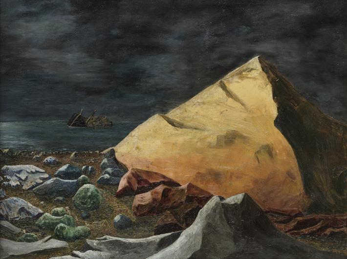 //Der Messingberg// (//Eine Sage//), niedatowane, oil / canvas, 54 × 65 cm, courtesy of Joachim-Ringelnatz-Museum, Cuxhaven