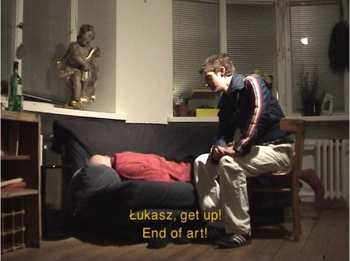 Azorro, //Koniec sztuki//, 2002, wideo, 2 min 49 s, Kolekcja MOCAK-u