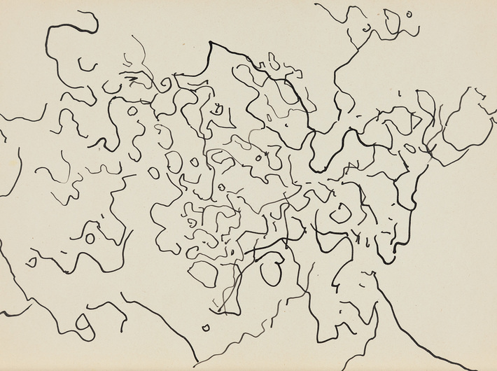 Dietrich Helms, //bez tytułu//, 1957, tusz / papier, 21 × 29,7 cm, Kolekcja MOCAK-u