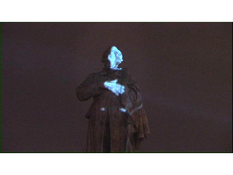 Krzysztof Wodiczko, //Projection on the Adam Mickiewicz Monument//, 2008, video documentation, 18 min, MOCAK Collection