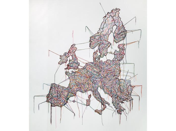 Małgorzata Markiewicz, //Mapa//, 2013, obiekt, 250 × 250 cm, Kolekcja MOCAK-u, fot. R. Sosin