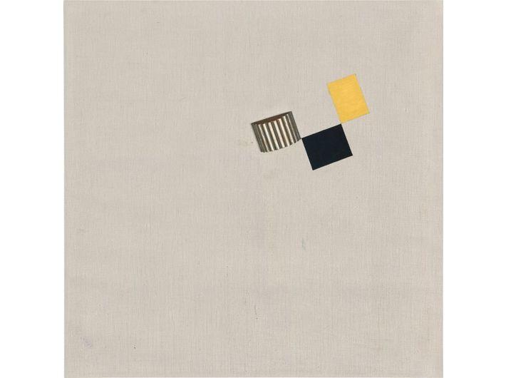Friedrich Vordemberge-Gildewart, //K 63//, 1931, olej / płótno, z zamontowanym drewnianym elementem, 60 × 60 cm, Kolekcja Dietera i Si Rosenkranzów, Berlin, courtesy Vordemberge-Gildewart Foundation, Switzerland