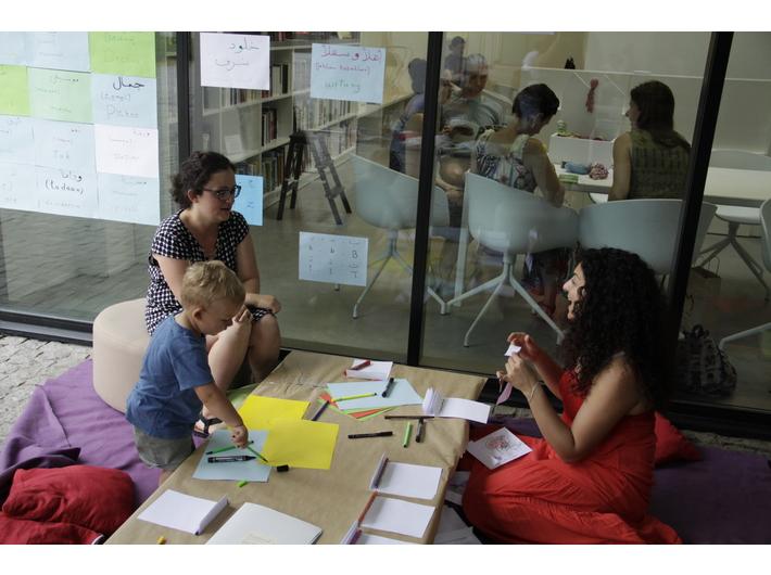 Kholoud Charaf during workshops in MOCAK Library, 9.6.2018, photo: Patrycja Kulig