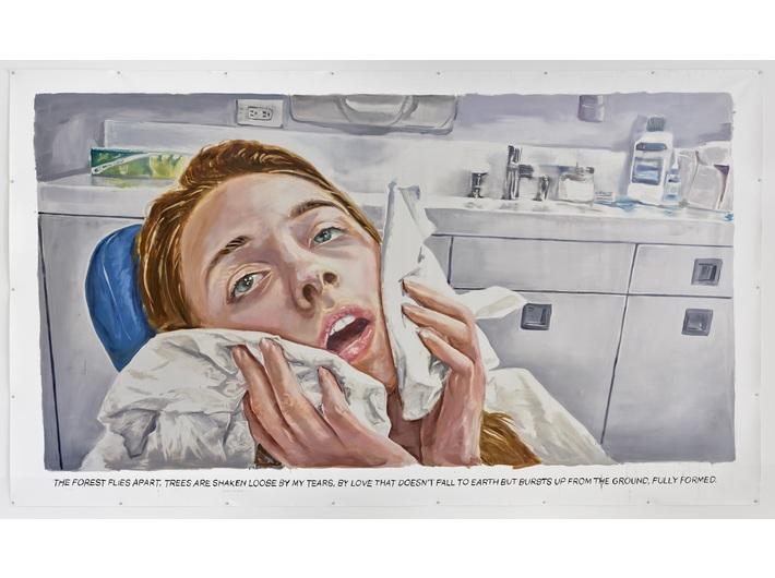 Muntean/Rosenblum, bez tytułu [Las się rozstępuje...], 2018 olej / płótno, 270 × 430 cm, courtesy Muntean/Rosenblum, Galerie Ron Mandos, Amsterdam