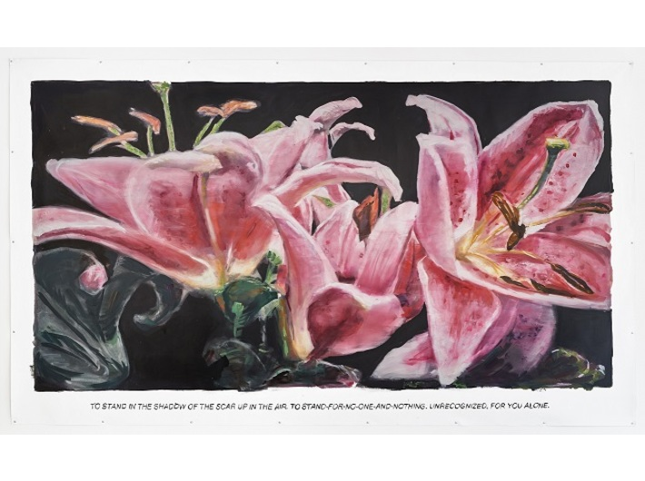 Muntean/Rosenblum, bez tytułu [Stanąć w cieniu…], 2018 olej / płótno, 270 × 430 cm, courtesy Muntean/Rosenblu, Galerie Ron Mandos, Amsterdam