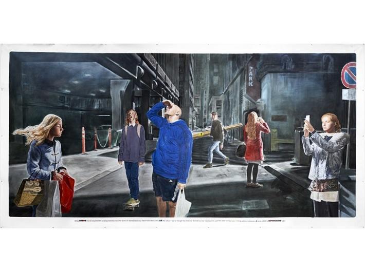 Muntean/Rosenblum, bez tytułu [Długo stali…], 2016, kreda, akryl / płótno, 285 × 545 cm, courtesy Muntean/Rosenblum, Galerie Ron Mandos, Amsterdam