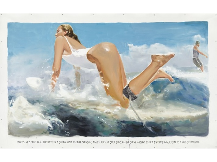 Muntean/Rosenblum, untitled [They pay off the debt…], 2017, oil / canvas, 262 × 430 cm, courtesy of Muntean/Rosenblum, Galeria Mário Sequeira, Braga