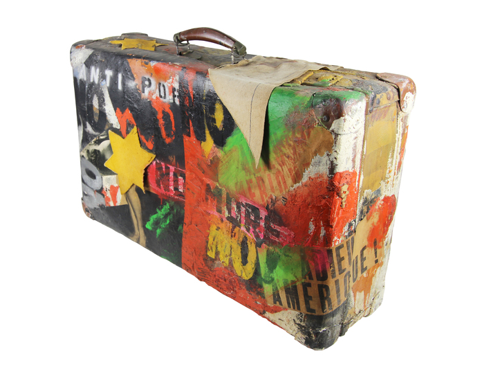 Boris Lurie, //Immigrant's NO Suitcase (Anti-Pop)//, 1963, mixed technique, 38.1 × 58.4 × 17.8 cm, courtesy of Boris Lurie Art Foundation