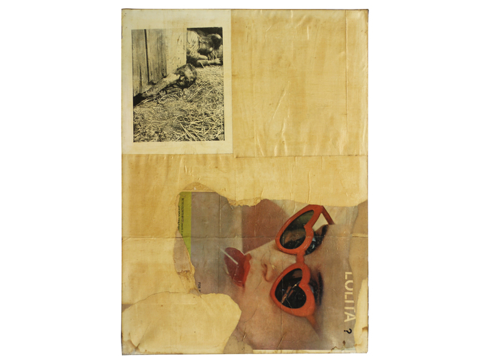 Boris Lurie, //Lolita//, 1962–1963, collage / canvas, 142.2 × 102.9 cm, courtesy of Boris Lurie Art Foundation