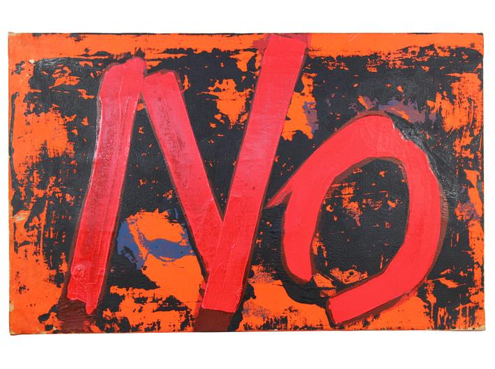 Boris Lurie, //Odczuwać malarstwo. NIE z czerwonym i czarnym//, z cyklu //Nie!obrazy//, 1963, akryl / płótno, 55,9 × 88,9 cm, courtesy Boris Lurie Art Foundation