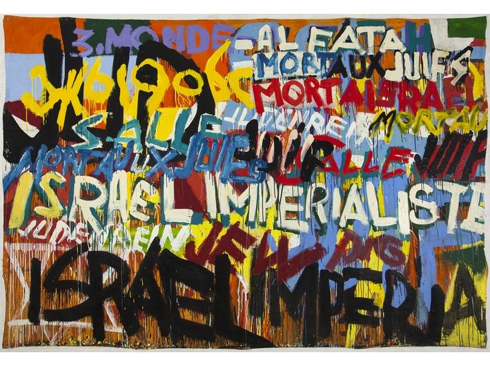 Boris Lurie, //Mort aux Juif! (Israel Imperialiste)//, 1970, lakier, olej / płótno, 228,6 × 322,6 cm, courtesy Boris Lurie Art Foundation