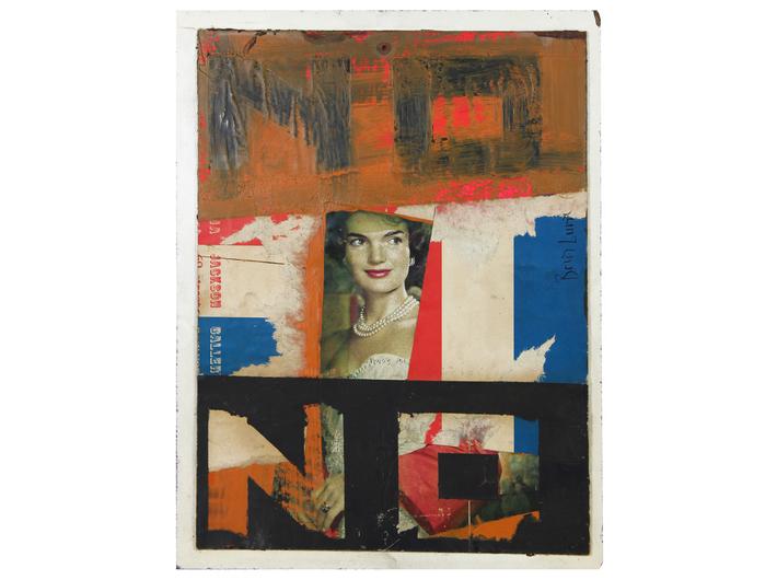 Boris Lurie, //NIE z Panią Kennedy//, z cyklu //Nie!obrazy//, 1963, kolaż / płyta, 35,6 × 27,3 cm, courtesy Boris Lurie Art Foundation
