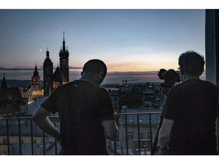 Ryszard Horowitz przy pracy nad //Fantazjami krakowskimi//, fot. Anna Bogusz