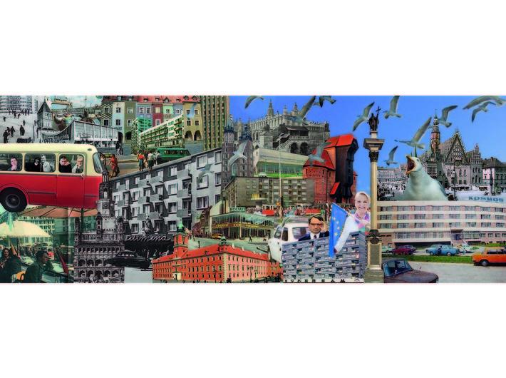 Alicja Biała, //Świetlicki's Cities//, 2018, collage, 120 × 42 cm, courtesy of A. Biała