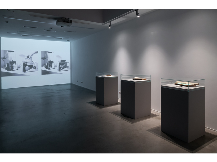 //Crime?// exhibition. Foreground: Mac Adams, Mystery Fragments, 1981, installation, various dimensions, courtesy of gb agency, background: Mac Adams, from the series The Mysteries, 1976, digital photograph, courtesy of gb agency, photo: R. Sosin