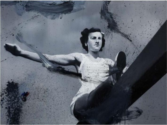 Witold Stelmachniewicz, bez tytułu [wg Riefenstahl], 2009–2016, olej / płótno, 90 × 120 ×2,5 cm, Kolekcja MOCAK-u