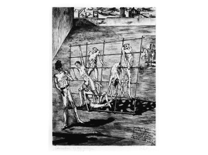 Rudolf Carl von Ripper, //Wychowanie obywatela//, 1938, akwaforta, 29,7 × 39,7 cm, courtesy Sachsenhausen Museum and Memorial Site