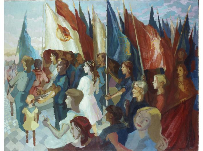 Hans Grundig, //Demonstracja młodzieży II//, 1951, olej / deska, courtesy Museum of Fine Arts Leipzig