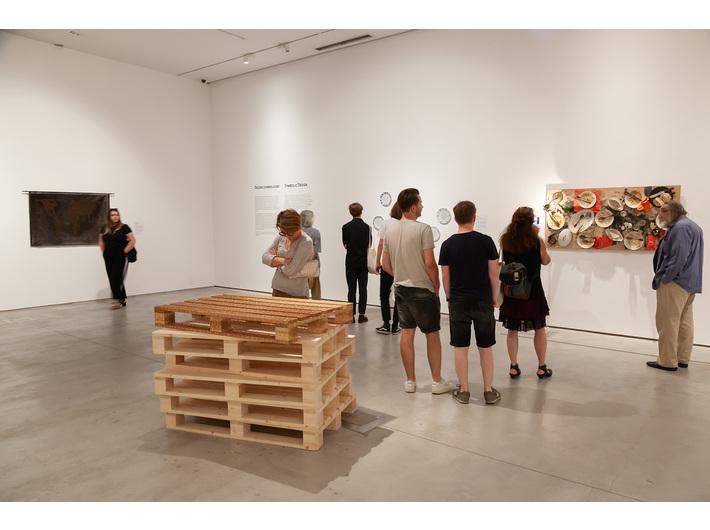 //Symbolic Design// (MOCAK Collection) exhibition. Foreground: Farid Rasulov, //Palette//, 2015, sculpture, 12 × 120 × 80 cm, MOCAK Collection. Photo: R. Sosin