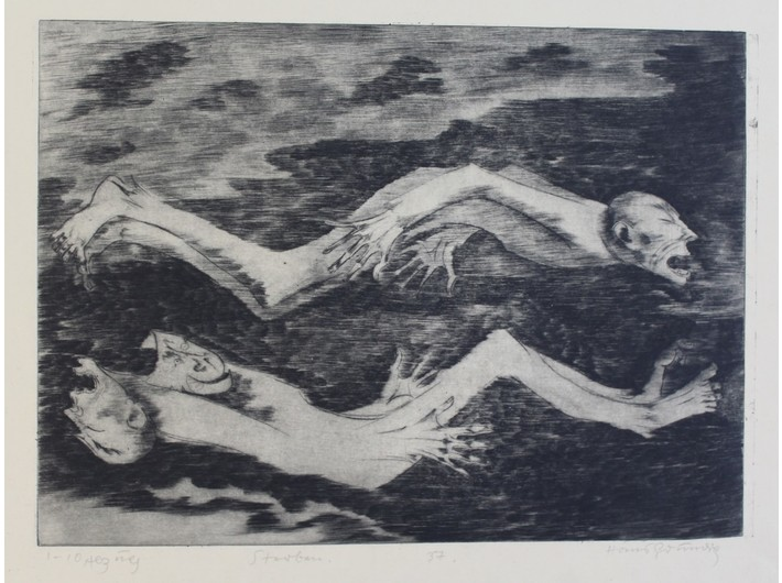 Hans Grundig, //Dying//, 1937, drypoint / paper, courtesy Sachsenhausen Museum and Memorial Site