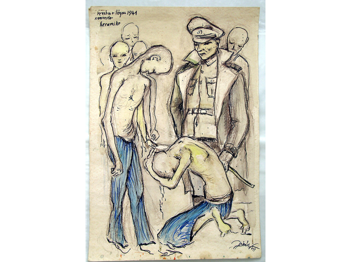 Karel Zahrádka, //Ceramics, 1941//, ink and chalk drawing, courtesy Sachsenhausen Museum and Memorial Site