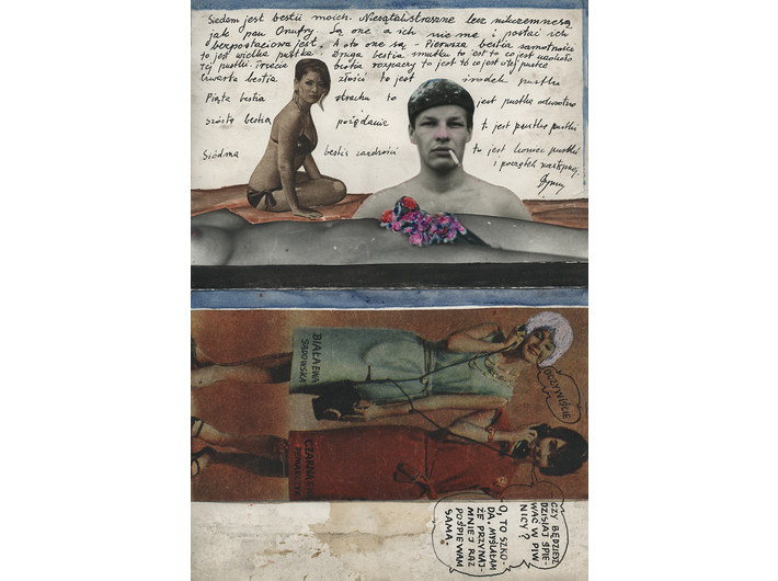 Wiesław Dymny, bez tytułu, kolaż, tusz, akwarela / papier (dwustronny), 23,5 × 16 cm, courtesy M. Dymny