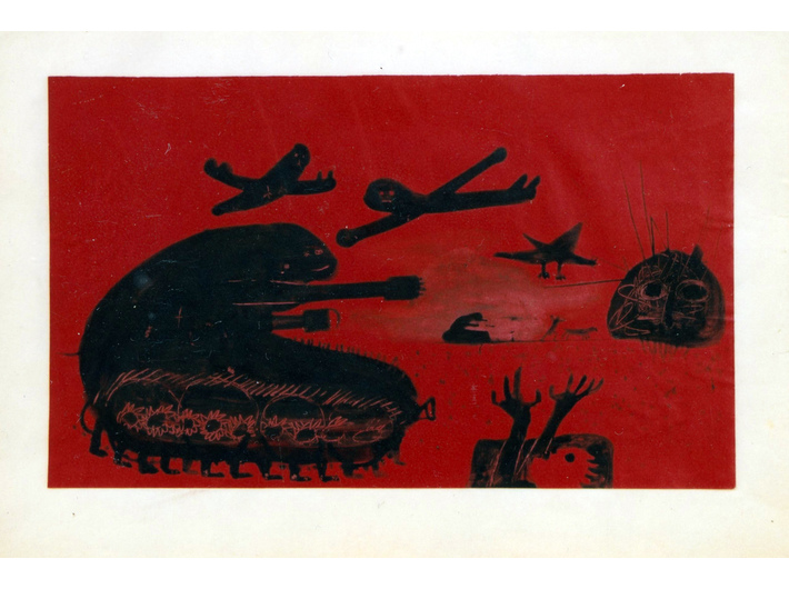 Władysław Hasior, z cyklu //Czerwona Wojna//, lata 50. XX wieku, rysunek, 29,7 × 42 cm, courtesy Muzeum Tatrzańskie