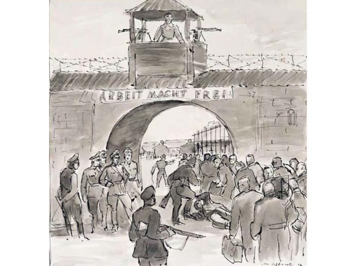 Mieczysław Wątorski, //Wejście profesorów do obozu Sachsenhausen//, 1956, tusz / papier, courtesy Muzeum Uniwersytetu Jagiellońskiego