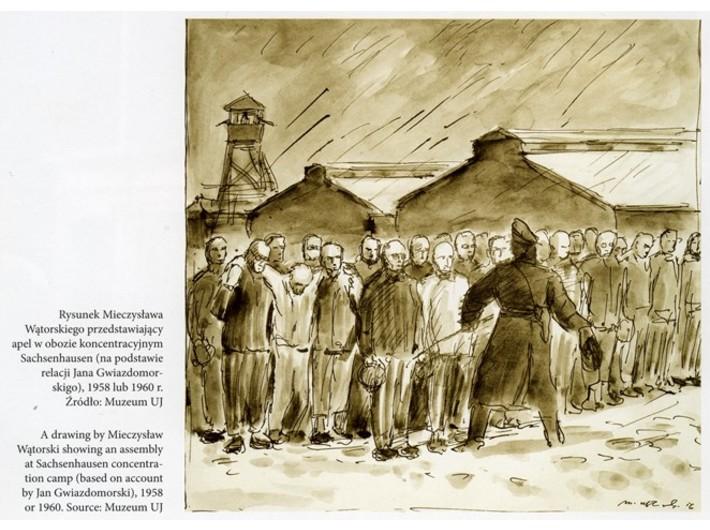 Mieczysław Wątorski, //Apel w Sachsenhausen//, 1956, tusz / papier, courtesy Muzeum Uniwersytetu Jagiellońskiego