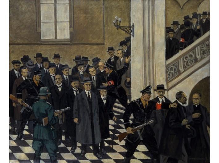 Mieczysław Wątorski, //The Arrest of UJ Professors//, 6 November 1939, mid-20th century, oil / canvas, courtesy Jagiellonian University Museum