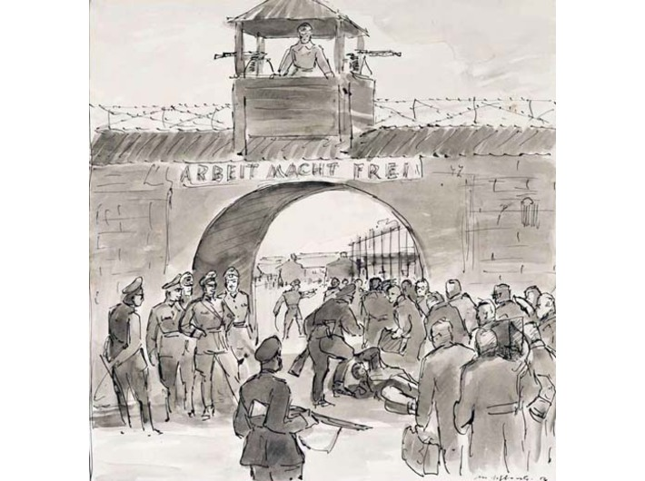 Mieczysław Wątorski, //The Professors Enter Sachsenhausen Concentration Camp//, 1956, ink / paper, courtesy Jagiellonian University Museum