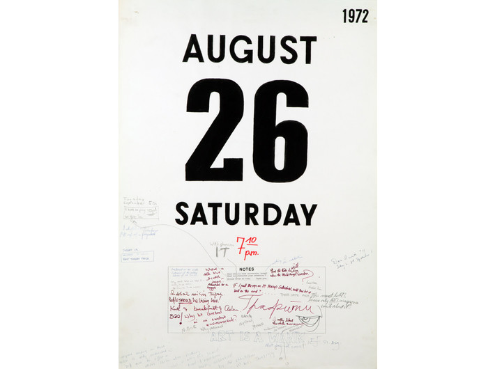 Maria Michałowska, //7 Diary Pages//, 1972, printing, marker, pencil, pen, ink / paper, 84 × 59,5 cm, MOCAK Collection