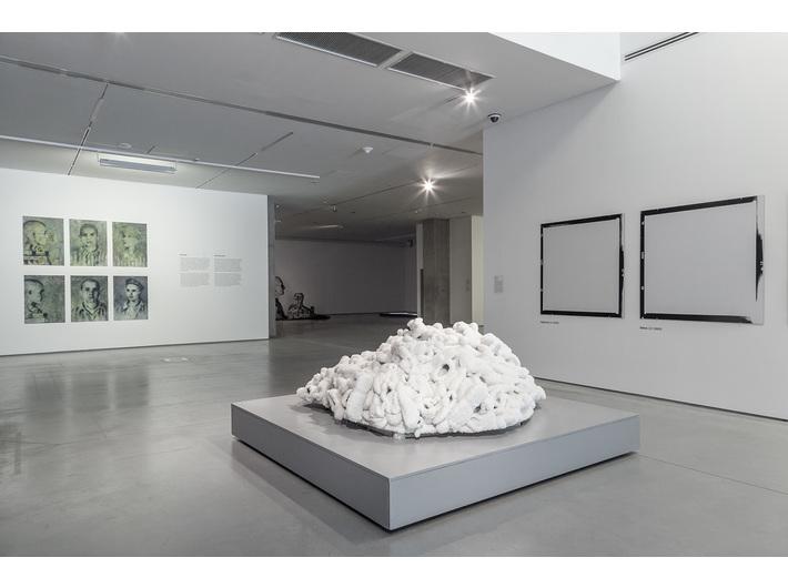 //World War II – Drama, Symbol, Trauma// exhibition. From left works by: Andrzej Żygadło, Sigalit Landau, Elżbieta Janicka, photo: R. Sosin