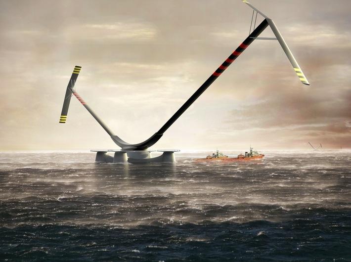 //Aerogenerator X//, 2010, developed by Wind Power, design by Grimshaw Architects; Visualisation of the 100 kW land-based //Aerogenerator// wind turbine, image: Wind Power Ltd, Grimshaw Architects