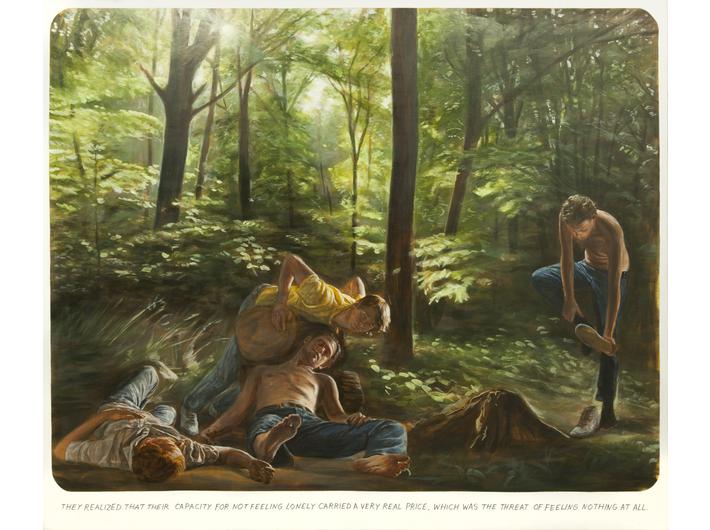 Muntean/Rosenblum, bez tytułu [Zrozumieli, że ich zdolność…], 2011, olej / płótno, 190 × 220 × 5 cm, Kolekcja MOCAK-u