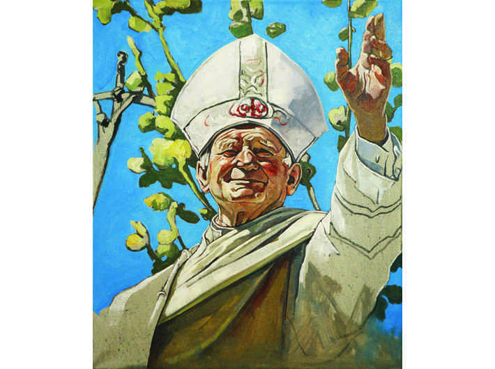 The Krasnals, Whielki Krasnal, //Pope John Paul II Gives a Left-Handed Blessing//, 2011, oil / canvas, 55 × 46 cm, private collection