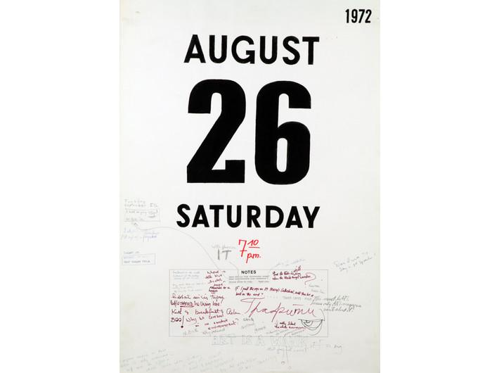 Maria Michałowska, //7 kartek z kalendarza//, 1972, druk maszynowy, flamaster, ołówek, długopis, tusz / papier, 84 × 59,5 cm, Kolekcja MOCAK-u