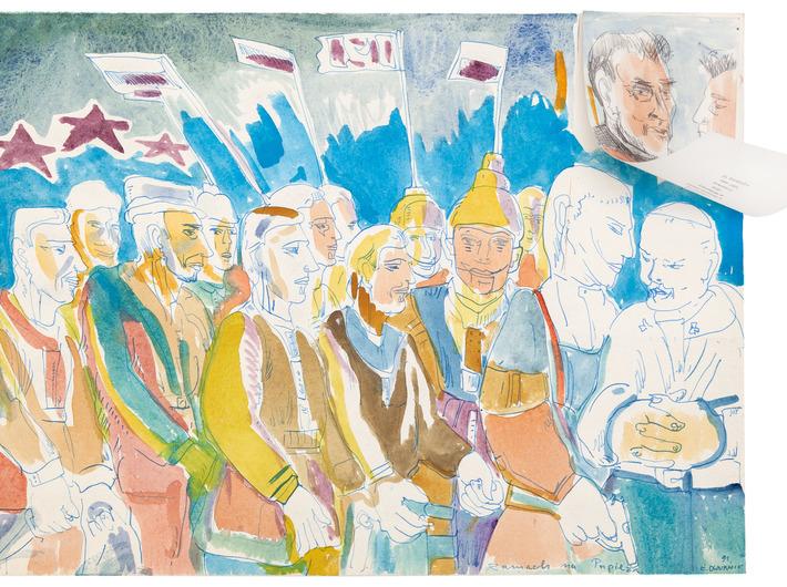 Edward Dwurnik, //Zamach na papieża//, 1991, akwarela, ołówek, tusz / papier, 35,3 × 49,5 cm, courtesy Galeria Raster, Warszawa