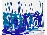 """Edward Dwurnik //Szkice do obrazu """"Bitwa pod Grunwaldem""""//, 2010, akwarela, ołówek / papier, 46 × 55 cm, Kolekcja MOCAK–u5"""