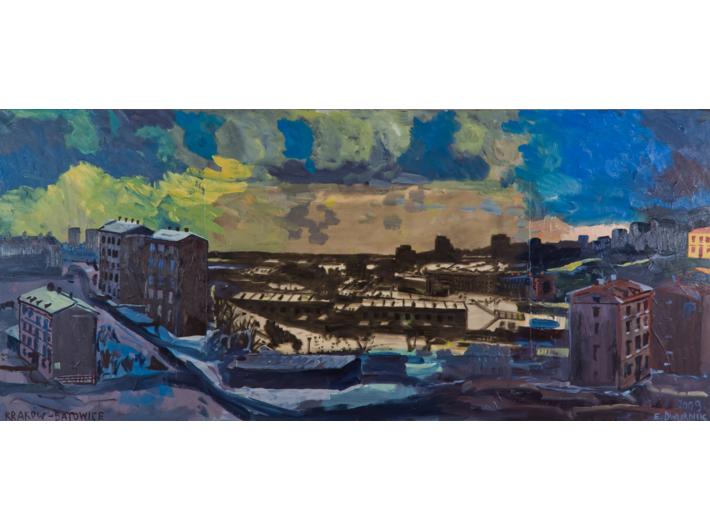 Edward Dwurnik, //Batowice//, 2009, akryl / płótno, 120 x 280 cm, Kolekcja MOCAK–u
