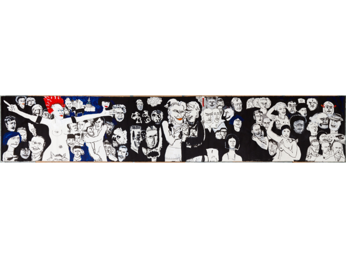 Edward Dwurnik, //Krakusypokażtacomata//, 2005, akryl / płótno, 160 × 830 cm, Kolekcja MOCAK–u