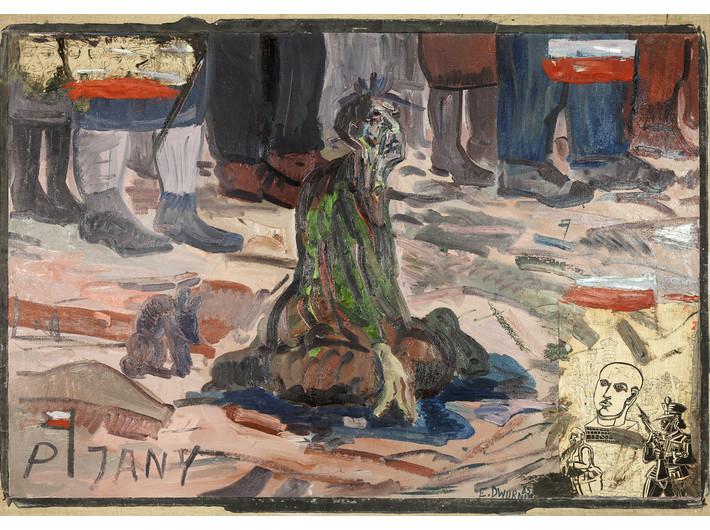 Edward Dwurnik, //Pijany//, 1985, olej / płótno, 140 × 201 cm, Kolekcja MOCAK–u