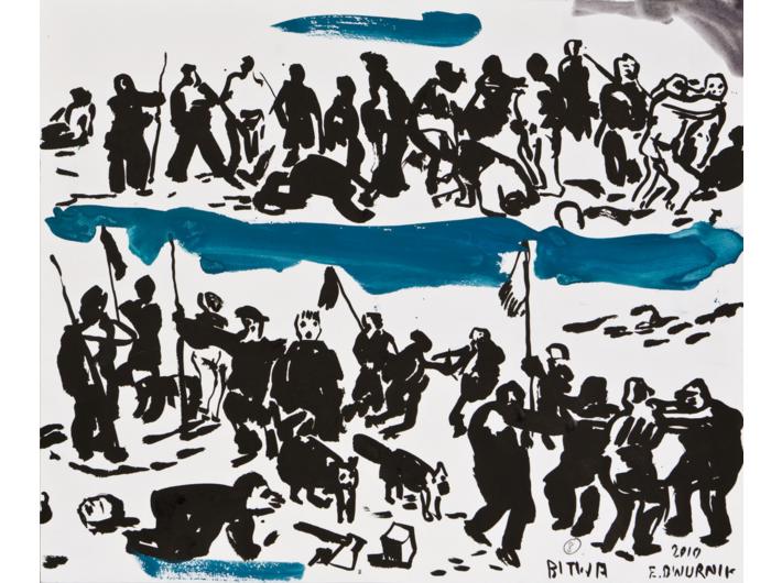 """Edward Dwurnik //Szkice do obrazu """"Bitwa pod Grunwaldem""""//, 2010, akwarela, ołówek / papier, 46 × 55 cm, Kolekcja MOCAK–u"""