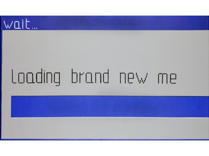 Laura Pawela, //wait… loading brand new me//, 60 × 100 cm, 2004, akryl / płótno, Kolekcja MOCAK–u