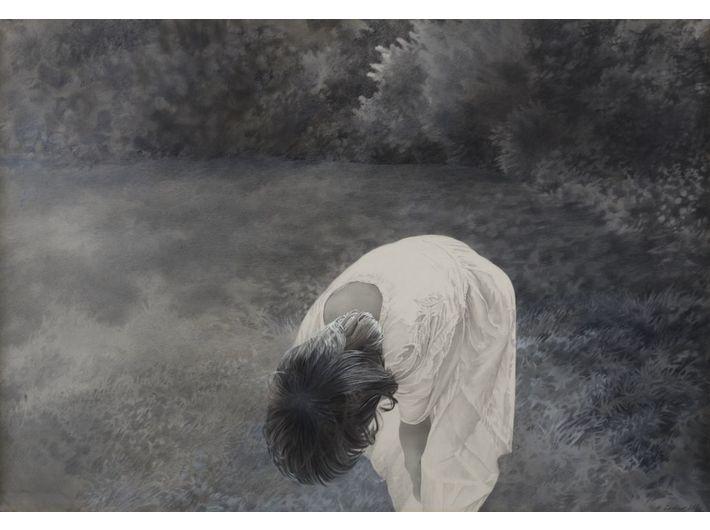 Halina Cader, //Joasia//, z cyklu //Portrety//, 1984, akryl, kredka / papier, 70 × 100 cm, courtesy H. Cader