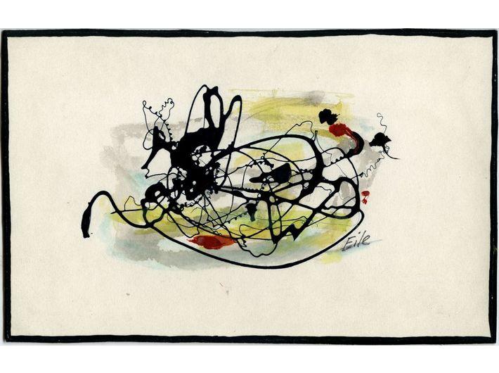 Marian Eile, untitled, c. 1976–1980, nitrocellulose paint, watercolour / paper, 10,4 × 16,5 cm each, MOCAK Collection